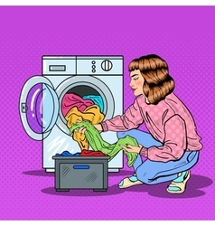 Pop Art Housewife Doing Laundry in Washing Machine vector image vector image
