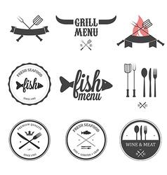 Restaurant menu design elements set vector image