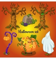 Set of objects and symbols of the Halloween vector image