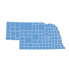 State map of Nebraska by counties vector image
