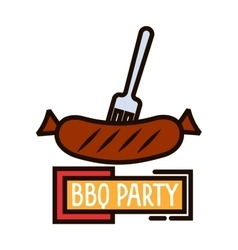 Grilled sausage on barbecue fork thin line symbol vector image