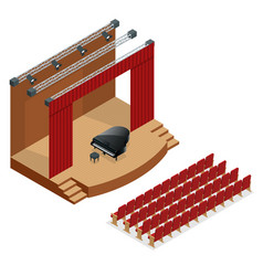 isometric concert stage and black grand piano at vector image vector image