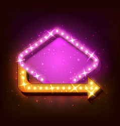 neon sign with arrow vector image vector image