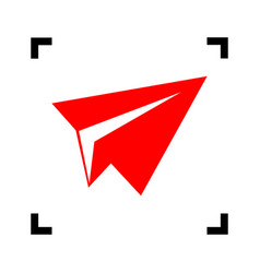 paper airplane sign red icon inside black vector image