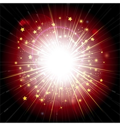 red and gold light explosion vector image vector image
