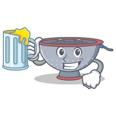 With juice colander utensil character cartoon vector