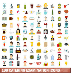100 catering examination icons set flat style vector image vector image