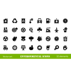 32 environmental icons vector image vector image