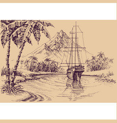 tropical gulf and boat pirates bay vector image vector image