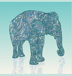 Elephant in asian style mandala style blue vector