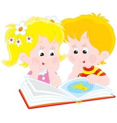 girl and boy read a book vector image vector image