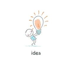 The Big Idea Man holding a giant lightbulb vector image vector image