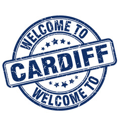 Welcome to cardiff blue round vintage stamp vector