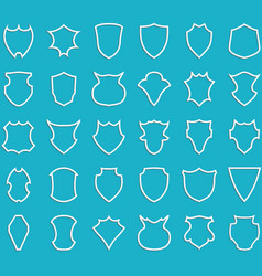 White outline shields on blue background vector image vector image