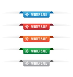 Winter sale paper tag labels vector image vector image