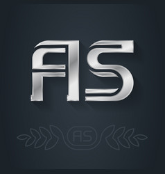 A and s initial silver logo aa - metallic 3d icon vector