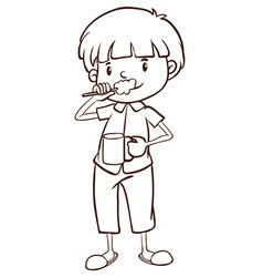 A plain sketch of a boy brushing his teeth vector image