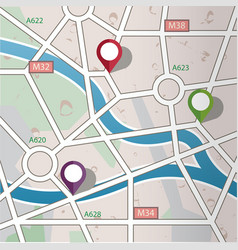 abstract city road map with gps icons vector image