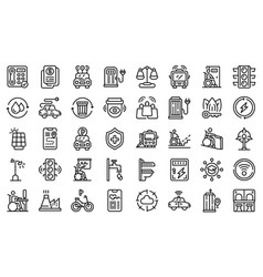 Accessible environment icons set outline style vector