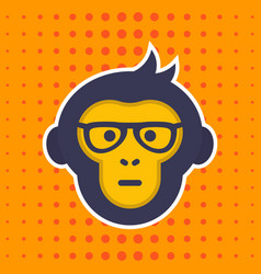 ape monkey with glasses sticker print vector image