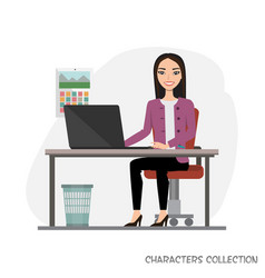 asian businesswoman is using a computer smiling vector image