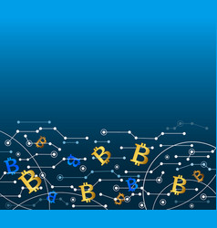 Bitcoin in the air technology background vector
