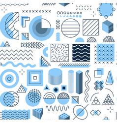 blue memphis seamless pattern vector image