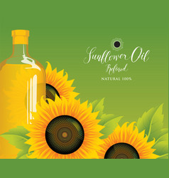 bottle of sunflower oil with sunflowers and leaves vector image