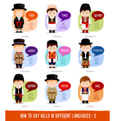 boys saying hello in foreign languages vector image