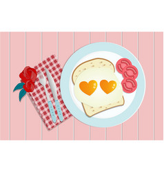 Breakfast fried heart shape eggs served with vector