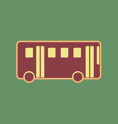 Bus simple sign cordovan icon and mellow vector