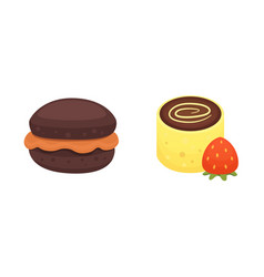 Chocolate muffin and dessert roll bakery products vector