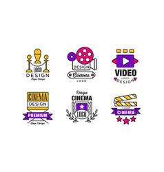 cinema retro logo design templates collection vector image