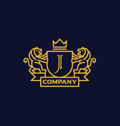 Coat of arms letter j company vector