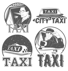 Collection of retro taxi logotypes vector
