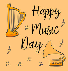 collection stock of music day greeting card vector image