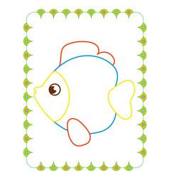 coloring book of beautiful sea fun fish vector image