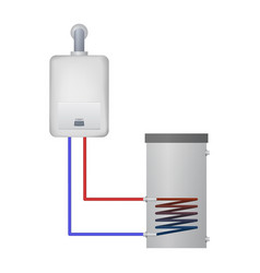 condensing boiler heats the water for the tank vector image