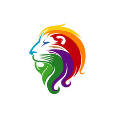 Creative abstract colorful lion head logo vector