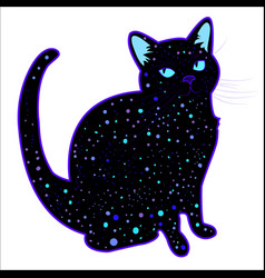 Cute funny cosmic psychedelic silhouette cat vector