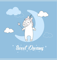 Cute magical unicorn and moon vector