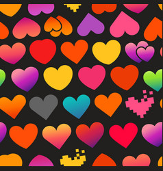 different color heart symbols on black background vector image