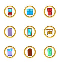 Different door icons set cartoon style vector