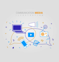 digital communication media infographic design vector image