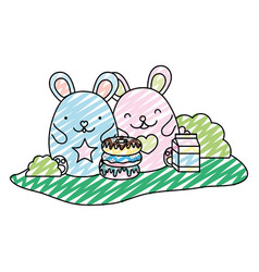 doodle cute mice with donuts and milk box vector image