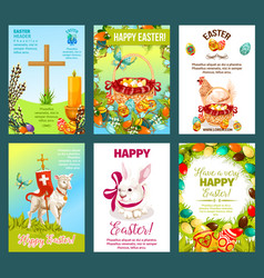 easter holidays cartoon greeting card set vector image