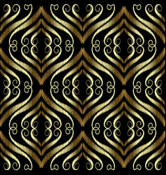 embroidery gold vintage seamless pattern vector image