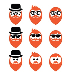 faces man with beard icons set ginger vector image