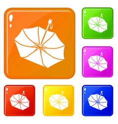 falling umbrella icons set color vector image