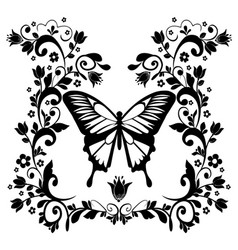 Graphic element butterfly with flourishes vector